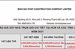 Bảng báo giá thi công trọn gói và vật tư kèm theo báo giá mới nhất 2021